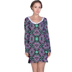 Floral Arabesque Print Long Sleeve Nightdress