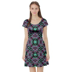 Floral Arabesque Print Short Sleeve Skater Dress