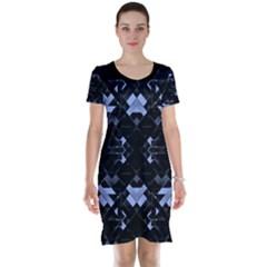 Geometric Futuristic Design Short Sleeve Nightdress