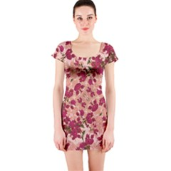 Vintage Floral Print Short Sleeve Bodycon Dress