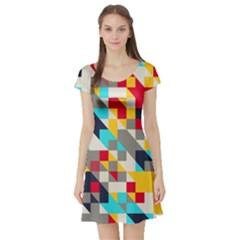 Colorful shapes Short Sleeve Skater Dress