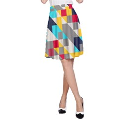 Colorful shapes A-line Skirt