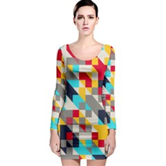 Colorful Shapes Long Sleeve Bodycon Dress