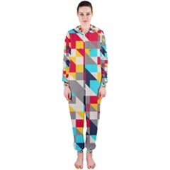Colorful shapes Hooded OnePiece Jumpsuit