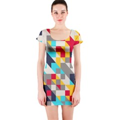 Colorful shapes Short sleeve Bodycon dress