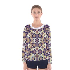 Modern Fancy Baroque Print Long Sleeve T-shirt (Women)