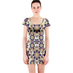 Modern Fancy Baroque Print Short Sleeve Bodycon Dress
