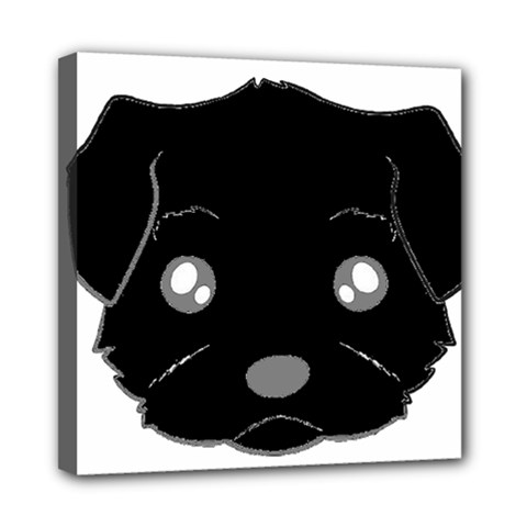 Affenpinscher Cartoon 2 Sided Head Mini Canvas 8  x 8  (Framed)