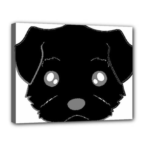 Affenpinscher Cartoon 2 Sided Head Canvas 14  x 11  (Framed)