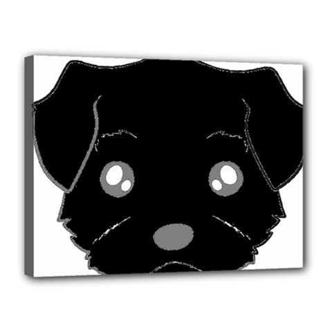 Affenpinscher Cartoon 2 Sided Head Canvas 16  x 12  (Framed)