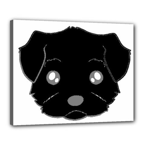 Affenpinscher Cartoon 2 Sided Head Canvas 20  x 16  (Framed)