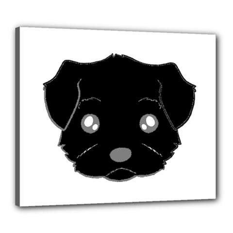 Affenpinscher Cartoon 2 Sided Head Canvas 24  x 20  (Framed)
