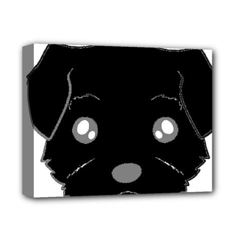 Affenpinscher Cartoon 2 Sided Head Deluxe Canvas 14  x 11  (Framed)