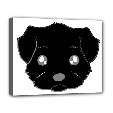 Affenpinscher Cartoon 2 Sided Head Deluxe Canvas 20  x 16  (Framed)