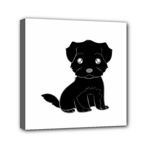 Affenpinscher Cartoon Mini Canvas 6  x 6  (Framed)