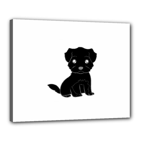 Affenpinscher Cartoon Canvas 20  x 16  (Framed)