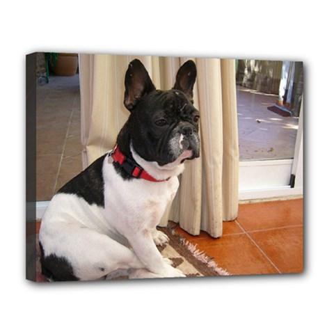 Sitting 3 French Bulldog Canvas 14  x 11  (Framed)