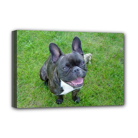 Sitting 2 French Bulldog Deluxe Canvas 18  x 12  (Framed)