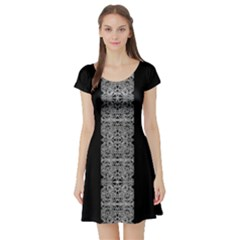 Cyberpunk Silver Print Short Sleeve Skater Dress