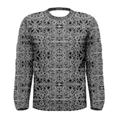 Cyberpunk Silver Print Skater Dress Long Sleeve T-shirt (Men)