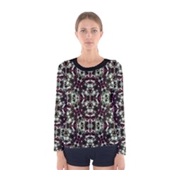 Geometric Grunge Print Long Sleeve T-shirt (Women)