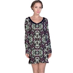 Geometric Grunge Print Long Sleeve Nightdress