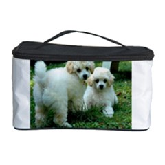 White 2 Poodle Pups Cosmetic Storage Case