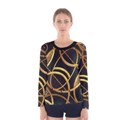 Futuristic Ornament Print Long Sleeve T-shirt (Women)