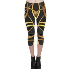 Futuristic Ornament Print Capri Leggings