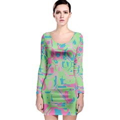 Pastel chaos Long Sleeve Bodycon Dress
