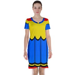 Colorful Curtain Short Sleeve Nightdress