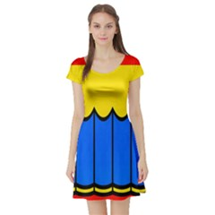 Colorful Curtain Short Sleeve Skater Dress