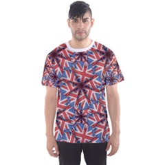Heart Shaped England Pattern Print Men s Sport Mesh Tee