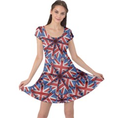 Heart Sahaped England Pattern Print Cap Sleeve Dress