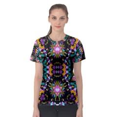 Digital Futuristic Geometric Print Women s Sport Mesh Tee