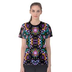 Digital Futuristic Geometric Print Women s Cotton Tee