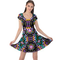 Digital Futuristic Geometric Print Cap Sleeve Dress