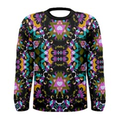 Digital Futuristic Geometric Print Long Sleeve T Shirt (men)