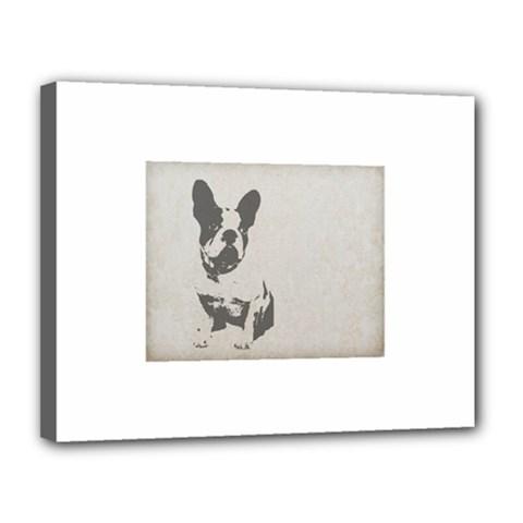 French Bulldog Art Canvas 14  x 11  (Framed)