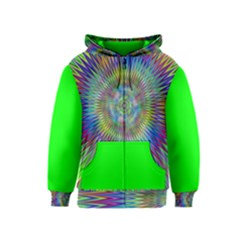 Hypnotic Star Burst Fractal Kids Zipper Hoodie