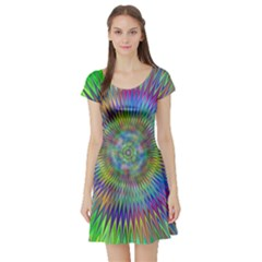 Hypnotic Star Burst Fractal Short Sleeve Skater Dress