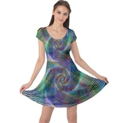 Psychedelic Spiral Cap Sleeve Dress