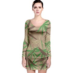 Leaves Long Sleeve Bodycon Dress