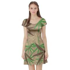 Leaves Short Sleeve Skater Dress