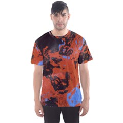Orange blue black texture Men s Sport Mesh Tee