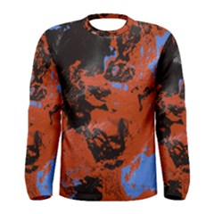 Orange Blue Black Texture Men Long Sleeve T Shirt