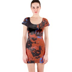 Orange blue black texture Short sleeve Bodycon dress