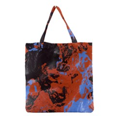 Orange blue black texture Grocery Tote Bag