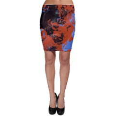 Orange blue black texture Bodycon Skirt