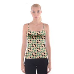 Brown green rectangles pattern Spaghetti Strap Top